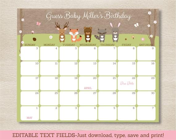 Calendar Woodlands : Pink woodland animal baby shower due date calendar