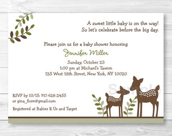 Cute Deer Baby Shower Invitation / Deer Baby Shower Invite / Woodland Baby Shower Invite / Woodland Deer / Gender Neutral / PRINTABLE A262