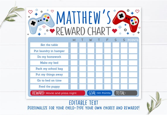 Editable Video Game Reward Chart Chore Chart Behavior Chart Boys Reward Chart Daily Chores Printable Digital Instant Download Template By Little Prints Inc Catch My Party
