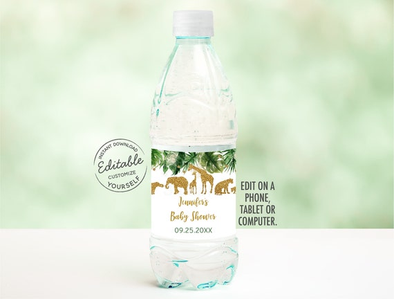 This is an image of Free Printable Water Bottle Labels for Baby Shower intended for child's 1st birthday