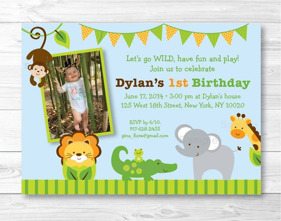 Jungle Animal Birthday Invitation