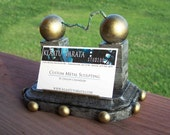 Tesla Coil Wooden Business Card Holder Steampunk Style