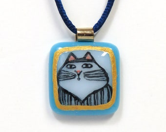 Cat Art Glass Pendant/ Longhair Tabby Cat/ OOAK  Handcrafted Fused Glass Jewelry