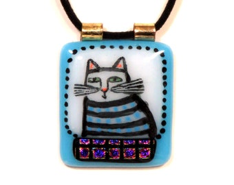 Tabby Cat Art Glass Pendant/ Handcrafted with Dichroic Glass Accent/ OOAK Handcrafted Fused Glass Jewelry