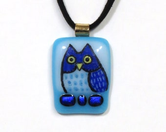 Cobalt Blue Owl Art Glass Pendant/  OOAK Handcrafted Fused Glass Jewelry