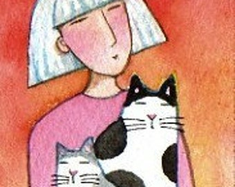 Cat and Kitten Art Original ACEO Watercolor Painting by Susan Faye FREE shipping in USA Art & Collectibles Grandma
