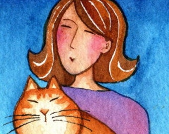 Artist Trading Cards Grandma Cat and Kitten Art Original ACEO Watercolor Painting by Susan Faye FREE shipping in USA