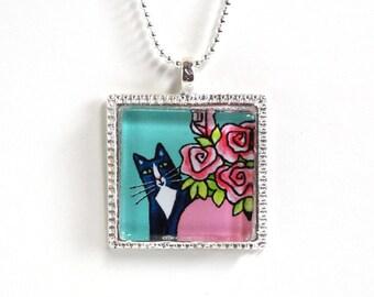 Tuxedo Cat Jewelry in Aqua Blue, Pink/ Animal Art Glass Pendant by Susan Faye