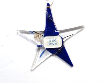 """Fused Glass Art """"TRUE LOVE"""" Ornament/ Handcrafted Romantic """"Wishing Star"""" by Susan Carr"""
