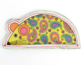 """Snazzy Rat """"Mellow Yellow"""" Catnip Toy/ Ready-Made 6"""" Cat Toy/ Whimsical Art by Susan Faye Carr"""