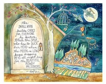 "Hafiz Inspirational Poem ""Dropping Keys""/  ""8 x 10"" Art Print/ / Illustration by Susan Faye Carr"