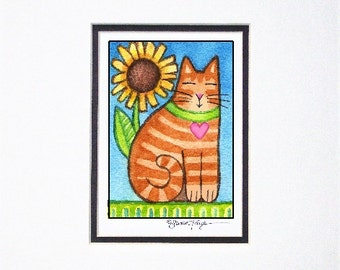 Orange Tabby Cat and Sunflower/ Whimsical Ginger Garden Cat/ Matted Art Print by Susan Faye