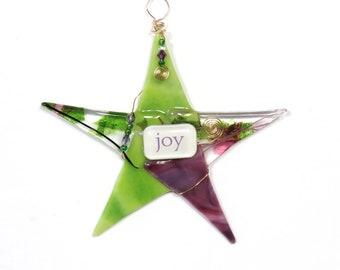 "Handmade Glass Christmas Ornament ""JOY""/ Inspirational Fused Glass ""Wishing Star"" by Susan Faye Carr"