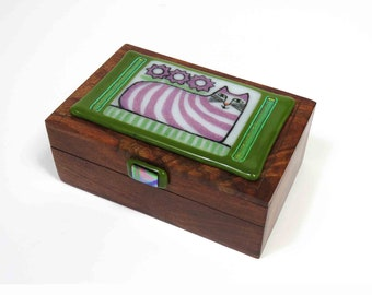 Fused Glass Cat Art Box/ Whimsical Tabby on Upcycled Box/ OOAK Glass Art by Susan Carr