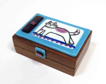 Fused Glass Cat Lovers Trinket Box/ Whimsical Cat Art on Upcycled Box/ OOAK Glass Art by Susan Carr