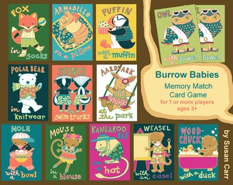 Memory Match with Baby Animals Art and Rhymes / Whimsical Card Game for Kids/  Illustrations by Susan Faye Carr