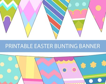 Printable Easter Bunting Banner, Easter Egg Banner, Printable Easter Egg Banner, Easter Pastel Banner, Party Home Room Decor