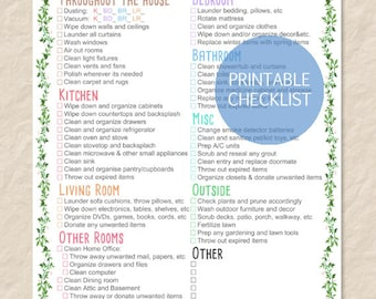 printable spring cleaning checklist printable house cleaning checklist filled and blank list editable pdf instant download