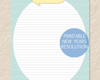 Printable New Years Resolution Sheet - New Years Goals - Editable PDF - Instant Download