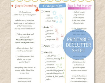 Printable KonMari Method Sheet, Home Declutter Sheet, Printable Tidying Sheet,House Organization Sheet, Instant Download