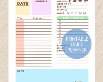 Printable Daily Dog Planner, Cute Dog Theme Day Planner, Puppy Daily Planner Page, Download Daily Planner