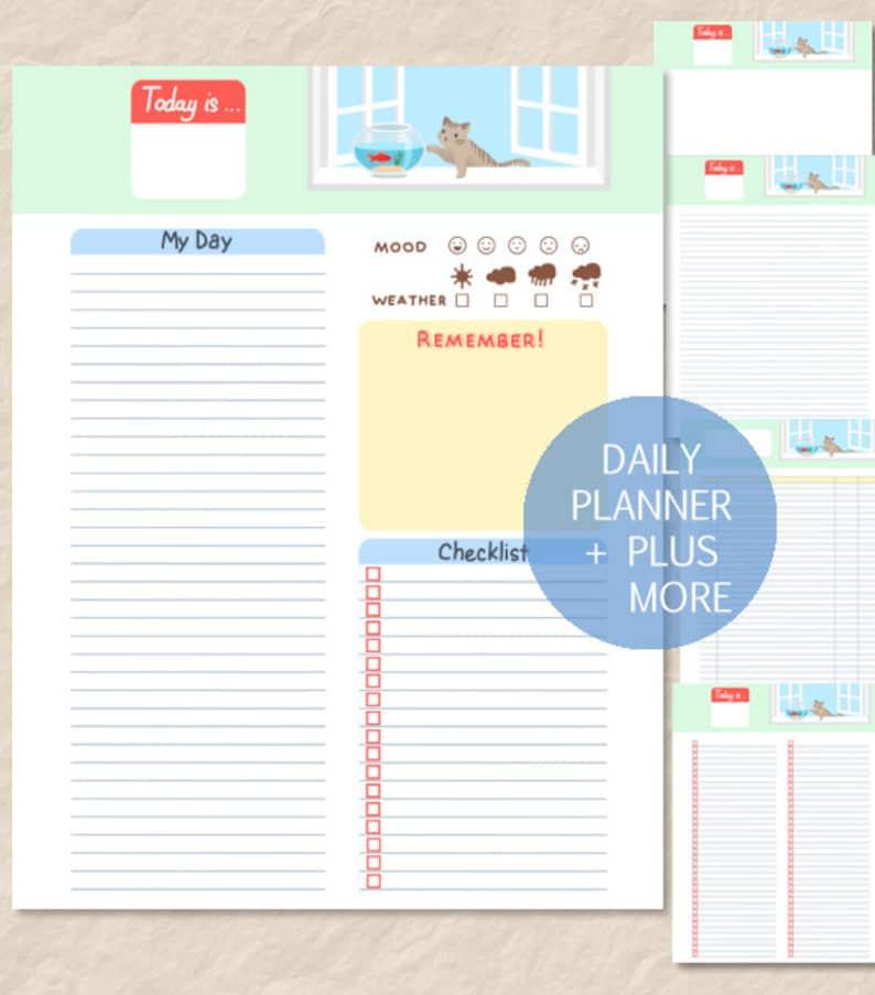 Printable Cute Cat Daily Planner, Cute Cat Goldfish Planner, Cate Undated  Daily Planner, Cat To-Do List,Cat Diary,Cat Journal,Cat Finance