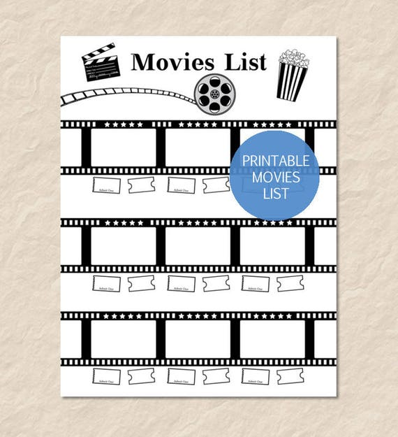 Printable Movies List Printable Watch List Printable Film Etsy