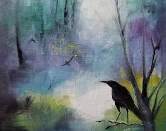 "A Journey of Crows Oil Painting 4x4""  Original"