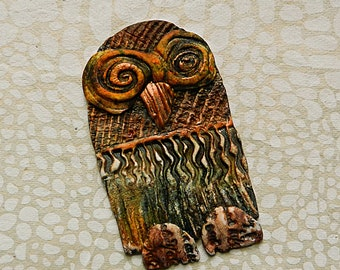 """Ornament Holiday """"Rustic Owl"""" Polymer Clay"""