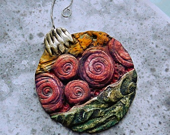 """Polymer Clay Holiday Ornament """"Vintage"""""""
