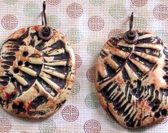 Polymer Clay Handmade Earrings - Masai Shield