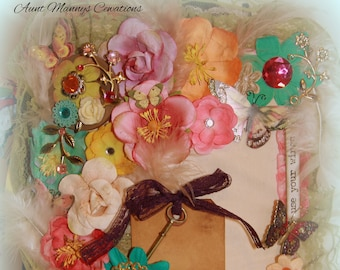 Vintage Antique Style Chunky Tim Holtz Spring Wallflower Junk Journal!  162 pages!  180 tags & cards!  Embellished to the max!