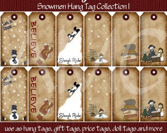 Primitive Vintage Winter Snowman Printable Hang Tags for Scrapbooking Art