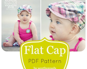 Kids Newsboy Hat PDF Pattern - Girls or Boys Flat Cap 6 Months to Pre-Teen - Childrens Hat Sewing Pattern