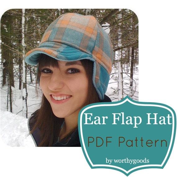 Ear Flap Hat PDF Sewing Pattern Warm Winter Style The
