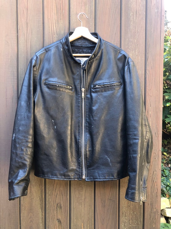 Vintage 1980s Excelled Black Leather Moto Motorcyc