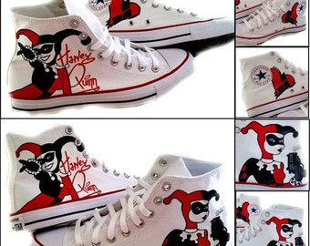 Harley Quinn, Hi Top Sneaker, Geek, Comic, Comic Con, Converse, SciFi, Painted Shoes, Womens Sneakers, Shoes Included