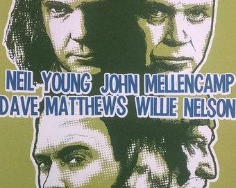 Farm Aid (2006) screenprint poster Willie Nelson, Neil Young, John Mellencamp, Dave Matthews