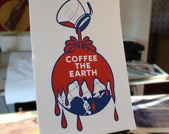 Coffee The Earth - remix of the Sherwin- Williams logo digital art print