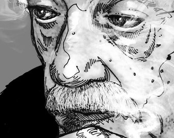 Kurt Vonnegut - author portrait [illustration Slaughterhouse Five writer pooty tweet so it goes]