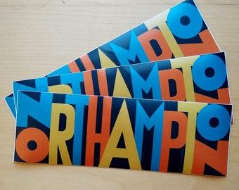 Northampton, Massachusetts - set of three bumper stickers [western mass, pioneer valley, noho, hamp, typography]