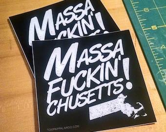 Massa-[effin]-Chusetts! - set of three stickers [massachusetts, typography, boston, masshole, black and white]