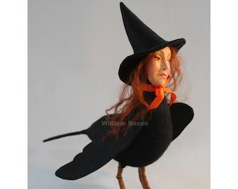 Raven Witch Transfiguration Spell sculpture by William Bezek