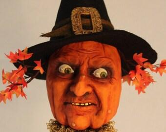 Halloween Wicked Pumpkin Witch Head sculpture by William Bezek