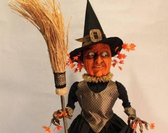 Halloween Wicked Pumpkin Witch Large Sculpture by William Bezek
