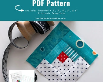 Log Cabin FPP Quilt Block PDF Pattern || Includes 5 Different Sized FPP Templates || Easy Foundation Paper Pieced Pattern