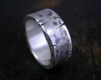 Made to order weathered sterling silver crackle band. 8mm wide beefy and simple with oxidized patina