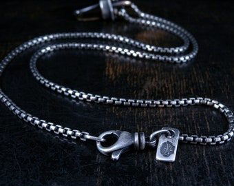 2.5mm Sterling silver round box chain Made To Order with deep rustic finish