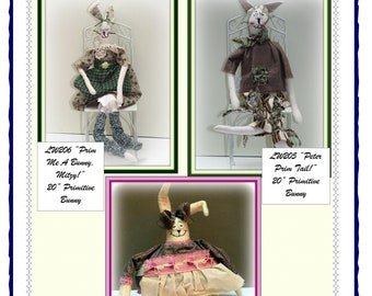 3 in 1 Patience Is A Virtue, Peter Prim Tail and Prim Me A Bunny, Mitzy - Primitive Bunny Shelf Sitter Doll Combo E-Pattern