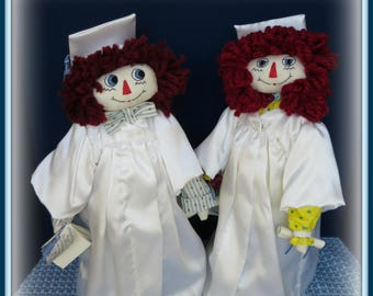 "2 in 1 ""Graduation Andy and Graduation Annie"" Graduation Raggedy Annie and Andy Dolls Combo E-Pattern"